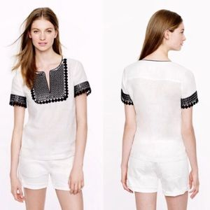 J. Crew Collection Black And White Linen Top